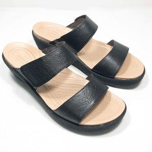 NWOB Crocs Black A-Leigh Linen Wedge Sandal Size 7